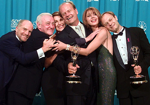 "The cast of ""Frasier"" backstage at the Emmys."