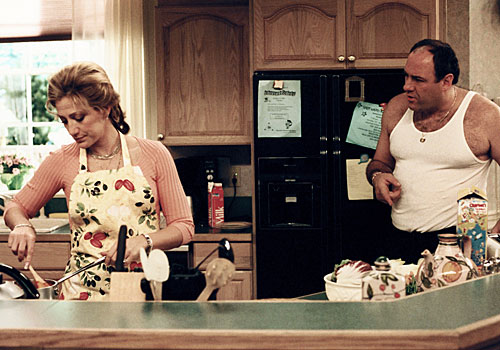 "James Gandolfini, right, and Edie Falco in ""The Sopranos."""