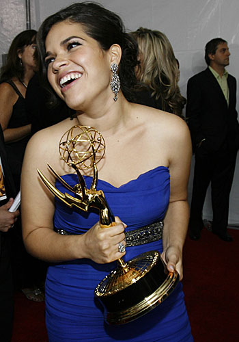 America Ferrera holds her actress Emmy.