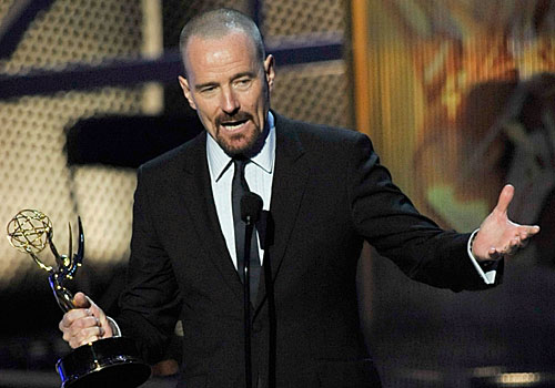 "Bryan Cranston accepts the lead actor in a drama series award for ""Breaking Bad."""