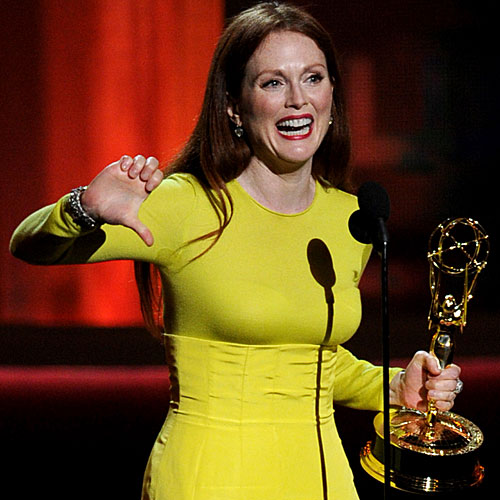 "Julianne Moore accepts her Emmy for lead  actress in a miniseries or movie for ""Game Change."""