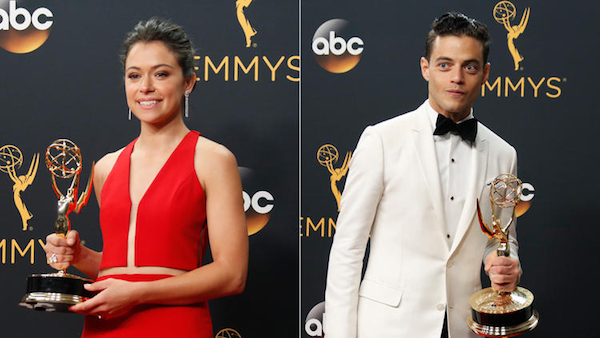 Tatiana Maslany and Rami Malek with their Emmy Awards.