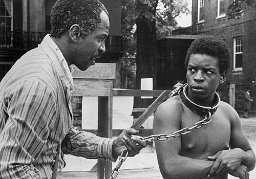 "Louis Gossett Jr., left, and LeVar Burton in ""Roots."""
