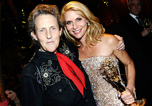 Claire Danes, right, won an Emmy for her portrayal of autistic scholar and animal behavior expert Temple Grandin, left.