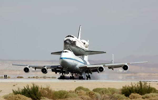 The space shuttle Endeavour arrives at Edwards Air Force Base on Thursday.