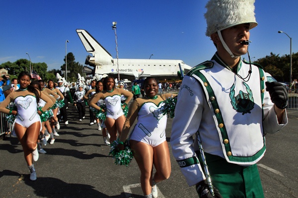 The Inglewood High School band marches to send-off space shuttle Endeavour from the Inglewood Forum on Saturday.