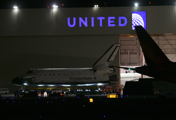 Endeavour begins its departure from LAX late Thursday.