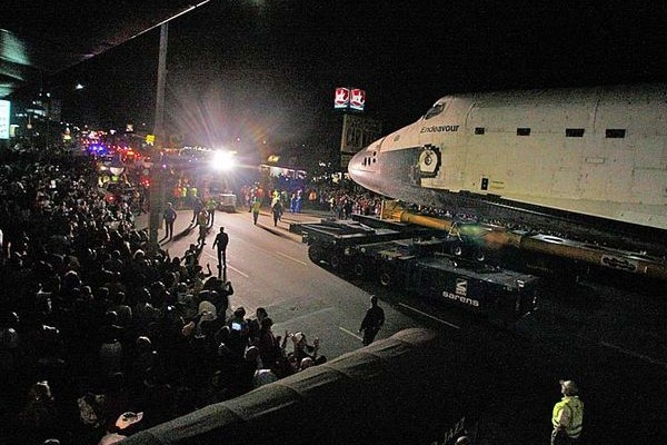 Endeavour approaches Baldwin Hills Crenshaw Plaza Saturday night.