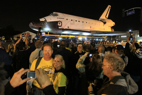 Endeavour, on its way to the California Science Center, stops at a parking lot in L.A.'s Westchester neighborhood.