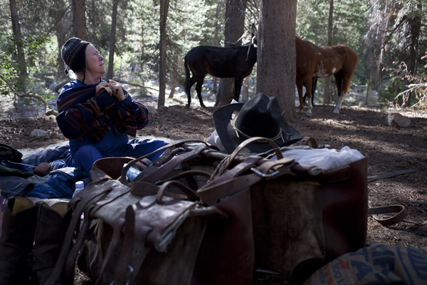 "Mary Breckenridge pulls on her fleece after waking up in the morning of her second day of her trans-Sierra trip. In the background are her mules and horse, which she ""highlines"" at night and sleeps near."