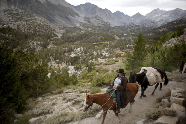 Mary Breckenridge crosses over Mono pass from the west side to the east side with her horse, Surprise, and mules, Dixie and Woody.