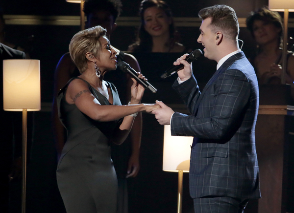 Mary J. Blige and Sam Smith perform at the end of the 57th Grammy Awards.