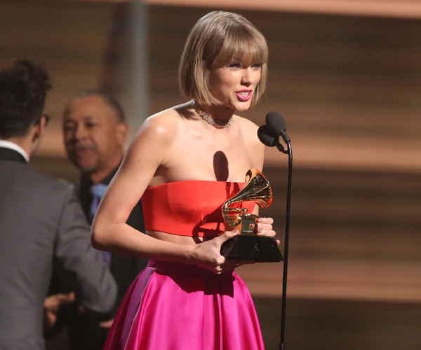 "Taylor Swift accepts the award for album of the year for ""1989."""