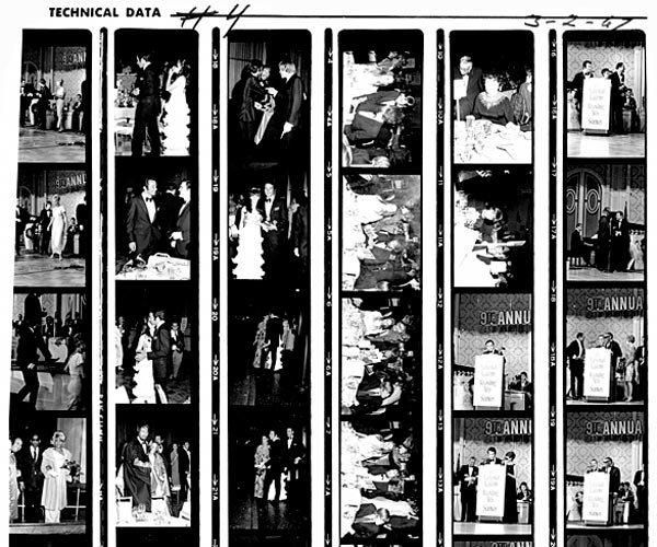 A proof sheet with images of the Grammy Awards in 1967.