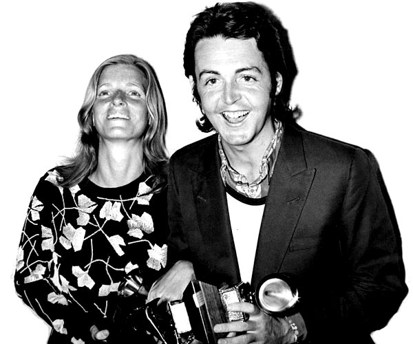 "Paul and Linda McCartney at the 1971 Grammy Awards, where he receives the award for original score written for a motion picture or a television special on behalf of the Beatles for ""Let It Be."""