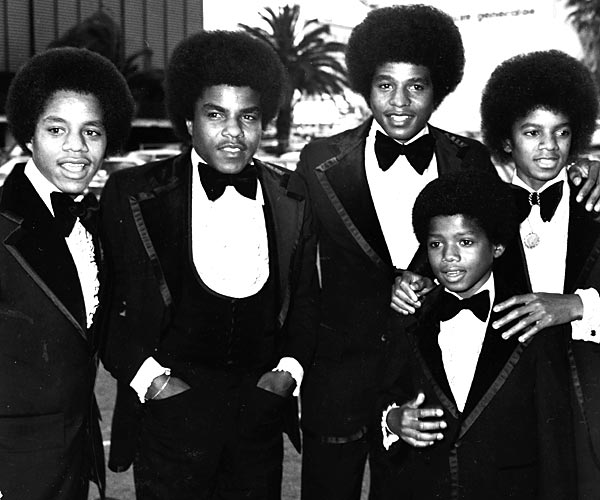 Left to right: Marlon Jackson, Tito Jackson, Jackie Jackson, Randy Jackson and Michael Jackson of the Jackson 5 attend the Grammy Awards in 1974.