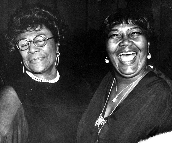 Ella Fitzgerald, left, and Pearl Bailey at the Grammy Awards in 1976.