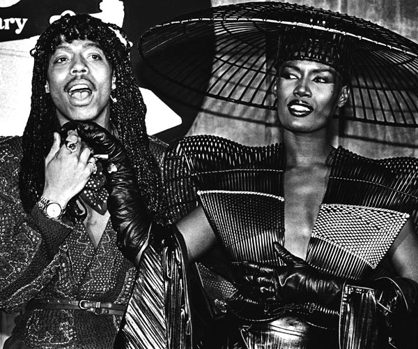 Singers Rick James and Grace Jones backstage at the 1980 Grammy Awards in Los Angeles.