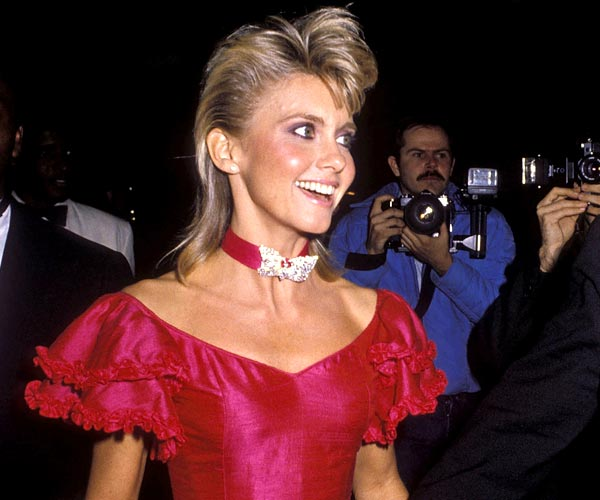 Olivia Newton-John attends the Grammy Awards at the Shrine Auditorium in 1983.
