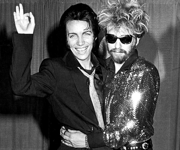 Eurythmics musicians Annie Lennox and Dave Stewart attend the 1984 Grammy Awards.
