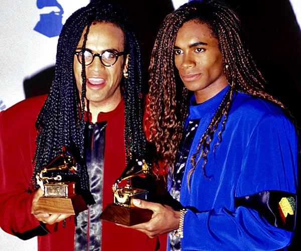 Rob Pilatus, left, and Fab Morvan of Milli Vanilli at the 32nd Grammy Awards.