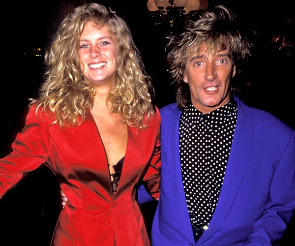 Rachel Hunter and Rod Stewart attend the 1991 Grammy Awards.