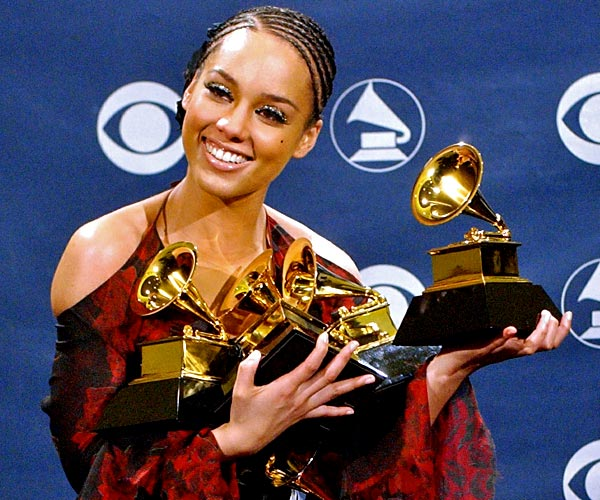 Alicia Keys wins for best new artist at the 44th Grammy Awards in Los Angeles.
