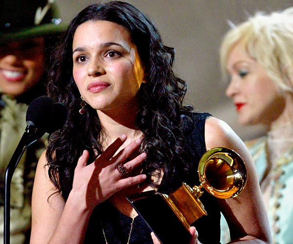 Norah Jones holds her Grammy for best new artist at the 45th Grammy Awards, held at Madison Square Garden in New York City.