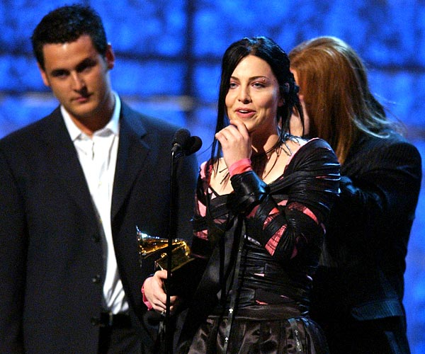 Evanescence singer Amy Lee accepts their award for best new artist during the 46th Grammy Awards at Staples Center in Los Angeles.