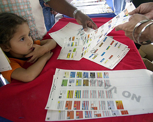 Supporters of Venezuelan President Hugo Chavez hand out sample ballots in Caracas.