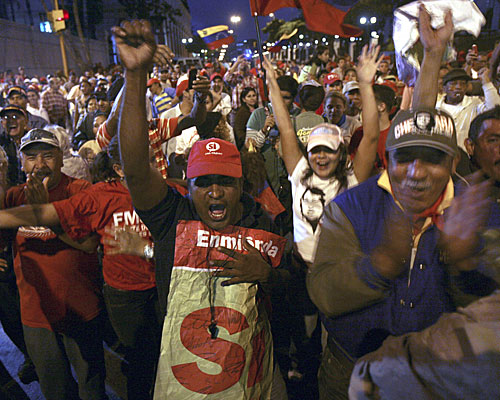 "Supporters cheer the amendment's passage. ""Chavez is the first president who cared about the poor, who truly loves his country and its people,"" says one voter."