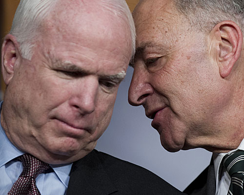 Senators John McCain, left, a Republican, and Charles E. Schumer, a Democrat, speak during a press conference on an agreement for principles on comprehensive immigration reform framework.